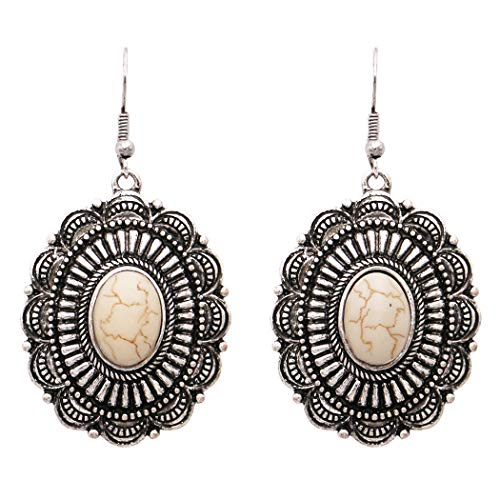 Rosemarie Collections Women's Southwestern Concho Style Howlite Stone Dangle Drop Statement Earrings (Cream -