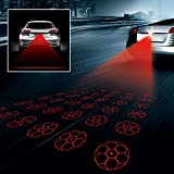Universal Car and Motorcycle Rear-end Alarm LED Laser Fog Light Tail Light Brake Parking Anti-Collision Warning Safety Lamp (Football Pattern)