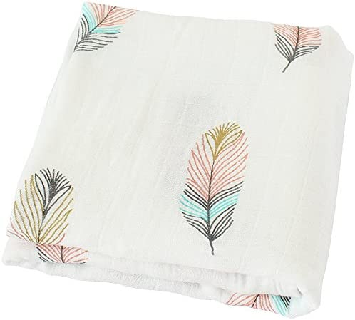 """LifeTree Muslin Swaddle Blankets,""""Feather Print"""" Bamboo Cotton Baby Swaddle  Wrap for Boys and Girls, Gender Neutral Baby Blanket, Burping Cloth &  Stroller ..."""