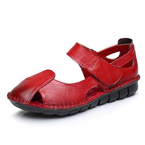 Plano De Verano Con Sandalias Planas Zapatos No Deslizante - Ocio Rojo oscuro
