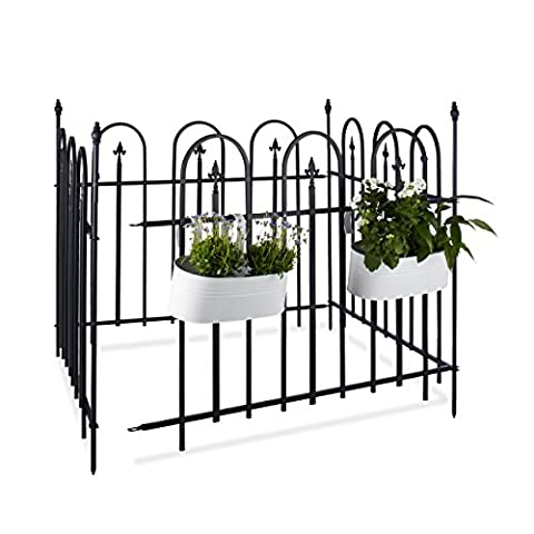 Relaxdays GOTH Metal Garden Fence, Complete Set, 4.8 m, Wrought Iron, Metal Fence, 4 Panels of 90 x 120 cm, Gray, (Patio Pickets)