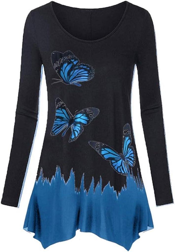 ✿HebeTop✿ Womens Street Style Cotton Butterfly Print Lrregular Hem Top Shirts