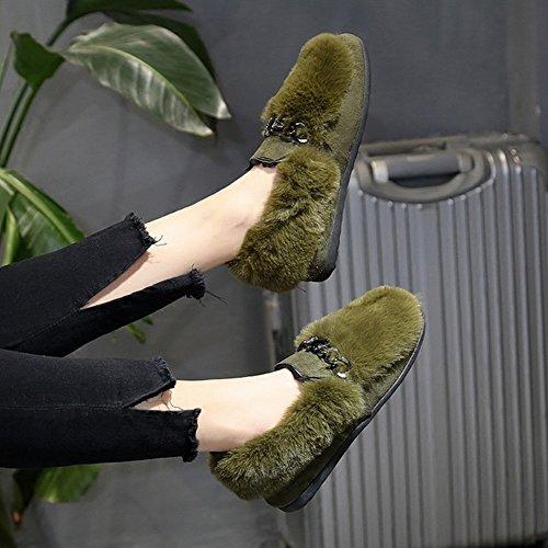 Los Zapatos de Los Guisantes Aplastaron Los Zapatos de la Punta de Algodón de Los Estudiantes de Los Zapatos de la Felpa Del Diamante Todos Los Zapatos Del Partido , negro , EUR 35.5