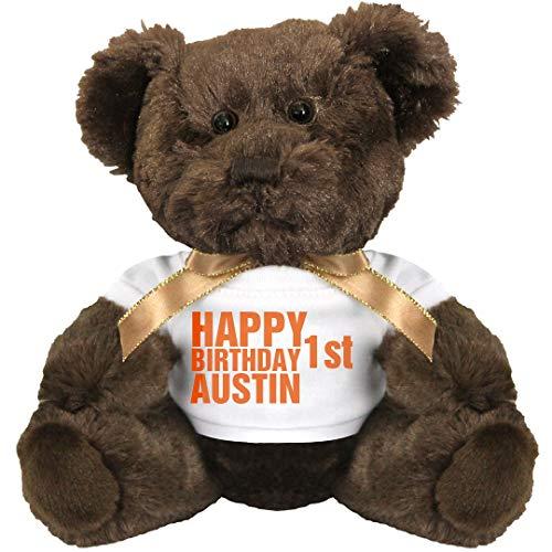 (FUNNYSHIRTS.ORG Happy First Birthday Austin: 7 Inch Teddy Bear Stuffed Animal)