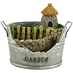 Clever Home Fairy Garden Container Pot with Fairy Hut in Resin with Fine Painted Detailing (9 x 10 x 8.5 inch)