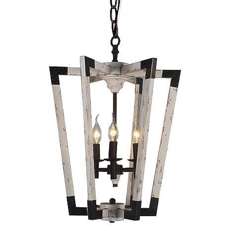 Docheer 3-Light Wooden Chandelier Rustic Metal and Wood Ceiling ...