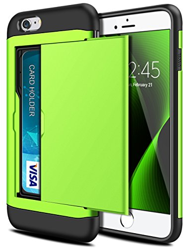 iPhone 6S Case, iPhone 6 Case, SAMONPOW Hybrid iPhone 6 Wallet Case Card Holder Shell Heavy Duty Protection Shockproof Anti-Scratch Soft Rubber Bumper Cover Case for iPhone 6/6S - Lime