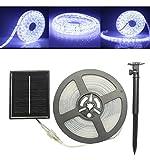 [New Arrival] 5M 100LED Solar IP65 Waterproof Strip Light LED Garden Lawn Decorative Light Bar/Belt(White light) (white)