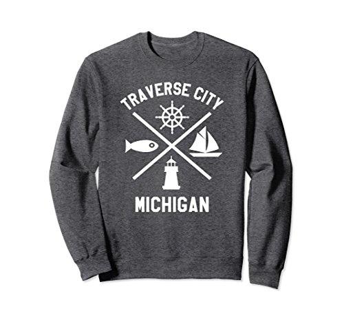 City Crewneck Sweatshirts - Unisex Traverse City Crewneck Sweatshirt Northern Michigan Shirt Large Dark Heather