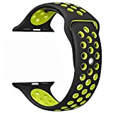 Apple Watch Band , Soft Silicone Sport Replacement Strap for Apple iWatch Series 1 2 3 Sport & Edition (Black/Volt Yellow 42mm M/L)