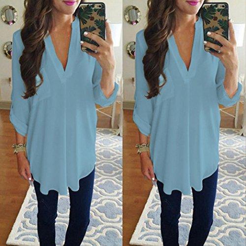 Soie Vest Col Casual Chic Occasionnels Blouse Shirt Manches de Chemisier Mousseline T Loisirs Unie Femme Bleu V Lady Longues 2 Dcontract Tops de Lache Couleur Automne qZnTEwda