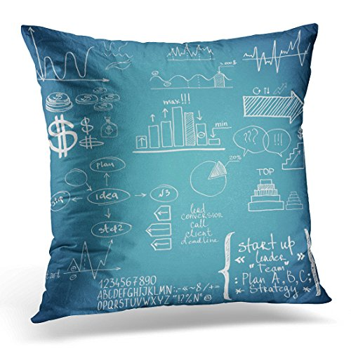 Golee Throw Pillow Cover White Doodle Finance Hand Drawn Chalk Chart Decorative Pillow Case Home Decor Square 18x18 Inches Pillowcase