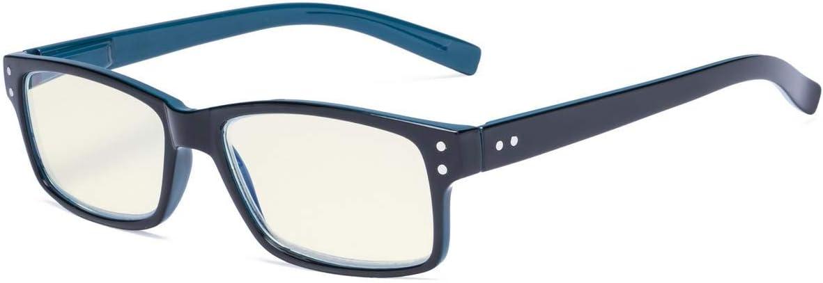 Eyekepper Gafas de lectura de ordenador protección UV,Anti deslumbramiento/Los lectores de rayos azules,brazo Negro/Azul +2.50