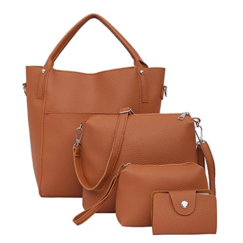 Cuatro Set bolso, bolsas de hombro bandolera cartera bolsa por Morwind (Marrón) Marrón