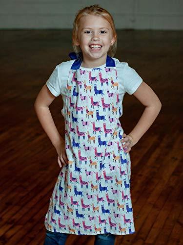 Pink Blue Llamas Girls Apron Gift for Art Crafts or Kitchen from Sara Sews, Inc.