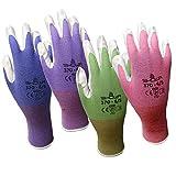 4 Pack Showa Atlas NT370 Atlas Nitrile Garden Gloves - Large (Assorted Colors)