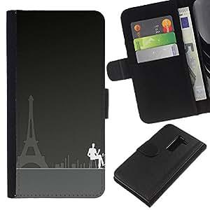 LG G2 D800 D802 D802TA D803 VS980 LS980 , la tarjeta de Crédito Slots PU Funda de cuero Monedero caso cubierta de piel ( Paris Cafe Art Eiffel Tower City Coffee Painting)