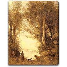 "Le Joueur De Flute Du Lac D'Albano by Jean-Baptiste-Camille Corot - 15"" x 19"" Gallery Wrapped Canvas Art Print - Ready to Hang"