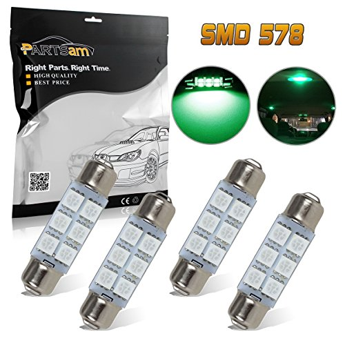Partsam 44mm Festoon 561 562 211-2 LED Light Bulbs Car Interior Dome Map Reading Lights 561 562 564 570 571 577 578 211-2 212-2 214-2 Bulbs for Chevrolet Dodge Ford GMC etc - Green 4Pcs