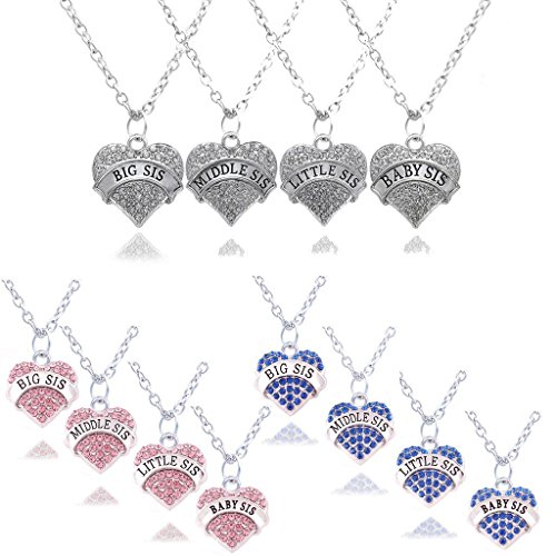 lauhonmin Crystal Sister Necklace Set Big Middle Little Baby Sister for Women Girl 9 Style 3 Colors