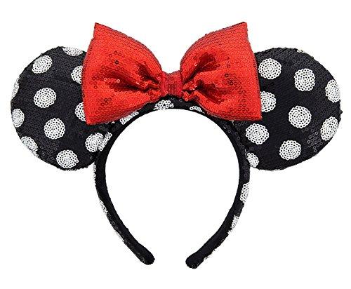 Disney Parks Sequin Minnie Mouse Ears Headband Black