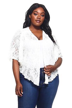 90625993352a8 Women s Eggshell White Plus Size Cascading Soft Lace Bolero Cardigan Shrug  Top ...