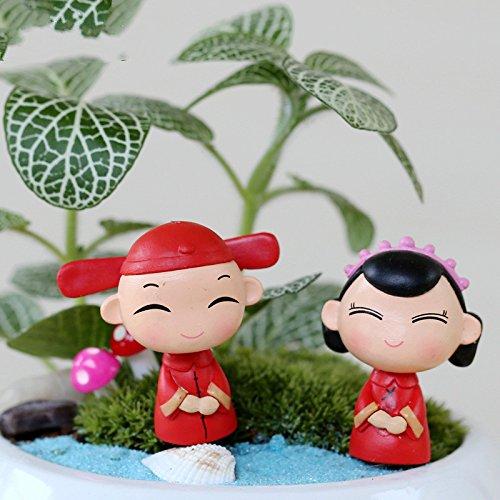 SHANF - Adornos en Miniatura para jardín de Hadas, diseño de Novio Chino y Novia (Rojo)