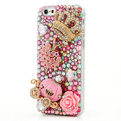 iPhone 6 Case (4.7 Inch) - Mavis's Diary Luxury Handmade Bling Crystal Rhinestone Pumpkin Car, Golden Crown, Pink Flower, Dancing Girl with Love Heart Cinderella Fairy Tale Back Case with (Cinderella Heart Charm)