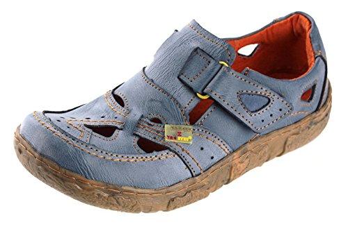 TMA Leder Damenschuhe Sommer Halbschuhe Sandalen 7008 Blau