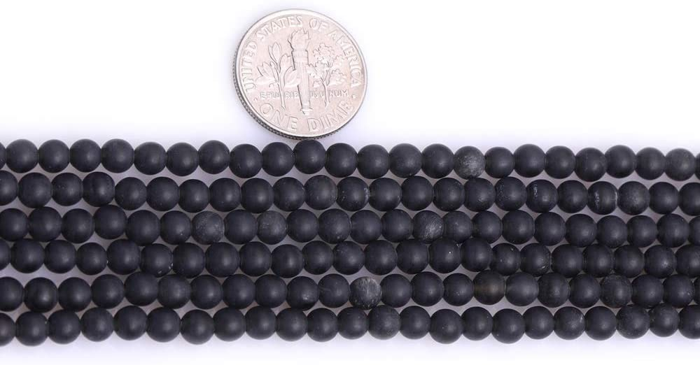 JOE FOREMAN 4mm Natural Stone Black Agate Frosted Matte Unpolished Round Spacer Beads for Jewelry Making Strand 15 inch