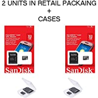 2x Genuine SanDisk 32GB MicroSDHC High Speed Class 4 Card with MicroSD to SD Adapter SDSDQM-032G-B35A + 2 BONUS Jewel Cases