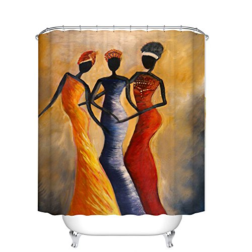 African Fabric Bed - Fangkun Shower Curtain Decor Set - African Woman Art Work Painting Style Bath Curtains - Polyester Fabric Waterproof Bathroom Accessories - 12pcs Shower Hooks - 72 x 72 inches