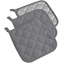 """DII Cotton Terry Pot Holders, 7x7""""  Set of 3, Heat Resistant and Machine Washable Hot Pads for Kitchen Cooking and Baking-Gray"""