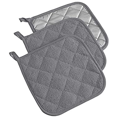 DII 100% Cotton, Machine Washable, Heat Resistant, Everyday Kitchen Basic, Terry Potholder, 7 x 7 , Set of 3, Gray