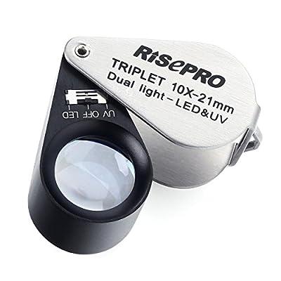 Jeweler Loupe, RISEPRO 10x Magnification Jeweler Loupe Triplet Lens with 6 LED UV Light 21mm MG7802-10X