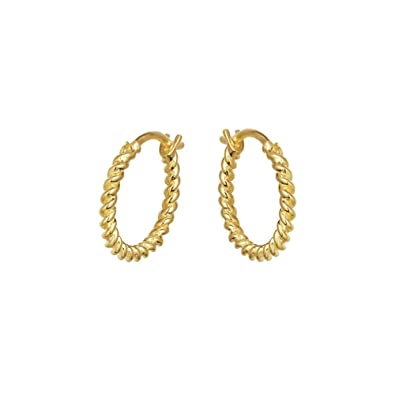 Twist Small Round Hoop Earrings for Women Girls 925 Sterling Silver 18K Gold Plated Simple Screw Thread Curved Thin Wire Dangle Drop Retro Clip Helix Stud Piercing Ear Hypoallergenic Jewelry Gift