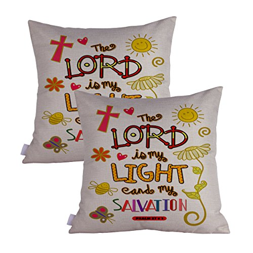 Queenie - 2 Pcs Christian Bible Verse Inspirational Quote Bible Calligraphy Decorative Throw Pillow Case Cushion Cover 19.75 x 19.75 Inch 50 x 50 cm (The Lord My Salvation)