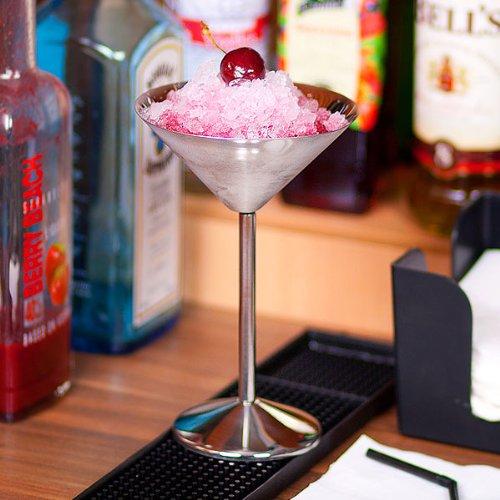 bar@drinkstuff Stainless Steel Martini Glasses 6oz/170ml by Pack of 4 | 17cl Martini Glasses, Metal Martini Glasses, Stainless Steel Cocktail Glasses