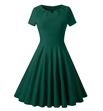 Womens 50s Vintage Short Sleeve Cocktail Prom Dresses Solid Color Skater Swing Dresses S Green