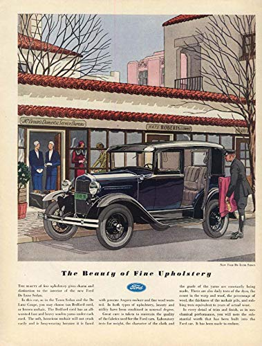 The Beauty of Fine Upholstery: Ford Model A De Luxe Sedan ad 1931 -