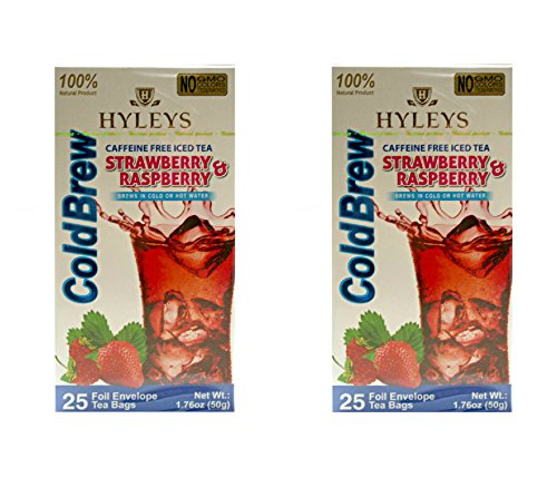 Caffeine Free Iced Tea - Hyleys 100% Natural Caffeine Free Iced Tea Strawberry & Raspberry Cold Brew 25 teabags (2 Pack)
