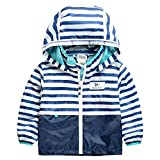 Evan Fordd New Spring Summer Fashion Children Jackets Hooded Outdoor Raincoat Blue and White 7
