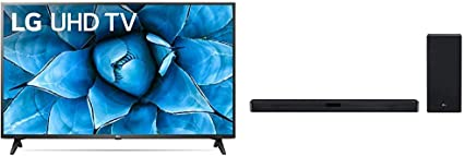 "LG 65UN7300PUF Alexa Built-in 65"" 4K Ultra HD Smart LED TV (2020) with LG SN6Y 3.1 Channel 420 Watt High Res Audio Sound Bar with DTS Virtual:X, Black"