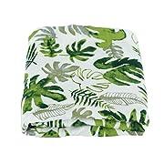 Baby Muslin Swaddle Blanket - Large 47  x 47  - 100% Organic Bamboo Cotton Receiving Wrap Blanket - Soft Burp Cloth, Stroller Cover - Newborn Gender Neutral Unisex Girl Boy - Tropical Leaves Design