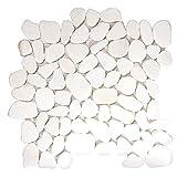 Pebble Stone Sliced Bright White Tile - Irregular Pieces for Walls, Floors, Kitchen Backsplashes on 12x12 Mesh Mounted Sheet (Box of 10 Sheets)
