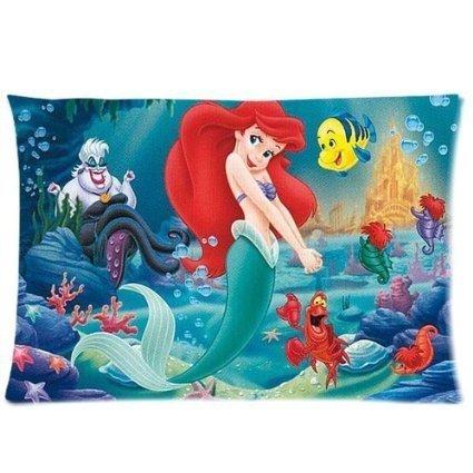 andersonfgytyh Cartoon Cute Little Mermaid and the Fish Custom Design Pillowcase Pillow Sham Queen Size Pillow Cushion Case Cover Two Sides Printed 20x30 (Fish Sham)
