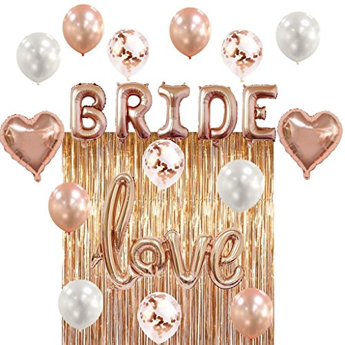 Bridal Shower & Bachelorette Party Decorations kit Rose Gold – Set includes 1 Fringe Curtain, 1 set of BRIDE balloons, 1 Love balloon, 2 Heart balloons, Latex 4 White 4 Rose Gold & 4 Confetti balloo