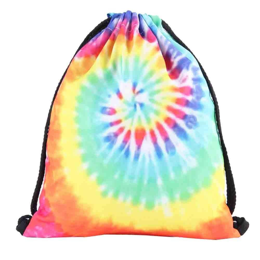 Shybuy Non-Woven Drawstring Bag Stylish Printed Lightweight Gym Sackpack Yoga Gym Swimming Cinch Pack (C, 11.8(L) x0.8(W) x15.4(H)'')