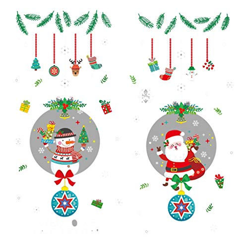 Fuyiq Christmas Santa Claus Wreath Ornaments Decorations Wall Stickers Dress Up Window Stickers Glass Door Stickers -