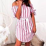 Women Summer Casual Ladies Short Sleeve Slash Neck Stripe Casual Off Shoulder Loose Mini Dress (RED, S)